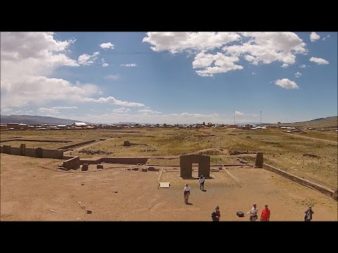 Quadcopter View Of Ancient Megalithic Tiwanaku In Bolivia
