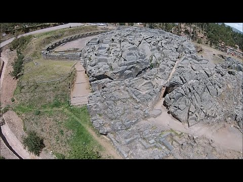 Quadcopter Flight Over Megalithic Qenqo Near Cusco In Peru